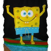 "Surfing Spongebob This is my son's birthday cake. He is turning two and loves ""Bob-Bob"". I used an internal pvc pipe structure. It's four..."