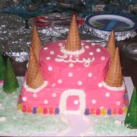 Pink Castle Cake I made this for my baby girls 2nd birthday! She loved it and I had alot of fun!
