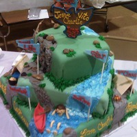 Eagle Scout Cake 3 tier cake celebrating 3 boys getting their Eagle scout badge.