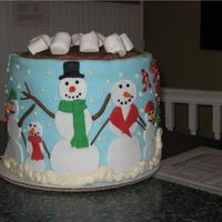 "Christmas Hot Chocolate Mug This is two 10"" cakes stacked on top of each other then covered in light blue fondant. Fondant and buttercream decorations, chocolate..."