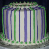 "Practicing Stripes Cake I made 'cause my oldest son said, ""Mom, can't you make a cake for US to eat?!?!?!?"""