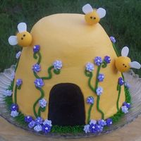 Beehive Cake Honey spice cake with crusting cream cheese icing, royal flowers, fondant bees. Made for my Mom's beekeeper club. Thank you for all...