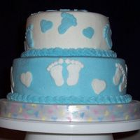 "Blue Baby Feet   Blue and white baby feet & hearts. 8"" and 6"". All BC. Thanks for looking!"