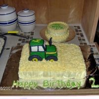 John Deere Cake  For 2-yr-old's birthday. He loves John Deere tractors. Thanks for the inspiration from Lindy Smith and CC. The tractor is made out of...