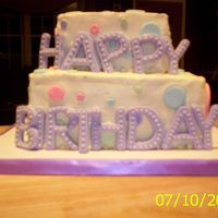 1St Birthday Cake  For a 1st birthday. My first square cake - and it wasn't easy! The picture shows all my mistakes - rough corners, uneven - although it...