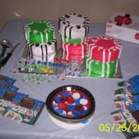Poker Chips Birthday Cake  I made 7 little cakes, iced with BC and Fondant cut-out details. I got the cakes all the way to the table, then went to cover them with...