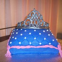 My First Pillow Cake Buttercream w/ royal icing tiara. Thanks Denysse for the template.