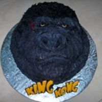 King Kong I carved this cake a little and used buttercream to frost, using a paintbrush to create the fur detail.