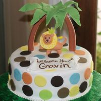 Gavin's Jungle   Covered and decorated in fondant. Designed after the party decor. ;o)