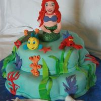 Little Mermaid-Esque Mermaid, fish and lobster are fondant.. The cake is all decorated in fondant with fondant accents..
