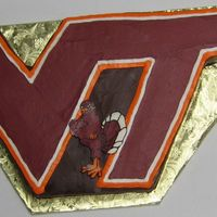 Virginia Tech Groom's Cake  buttercream transfer hokie bird.the hardest part of this cake was sketching the design onto parchment paper first so we could get it right...