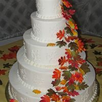 Autumn Leaves Wedding Cake   gumpaste leaves, airbrushed and painted with luster dusts
