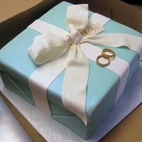 "Tiffany Box  Chocolate Fudge cake with Truffle Filling, Italian Meringue Buttercream, Covered in 'Tiffany""' Blue Fondant. The Bow, Tag..."