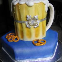 "Beer Mug Groom's Cake  Four 6"" rounds, 9"" hexagon, covered in fondant, airbrushed. clear piping gel 'water drops'. gumpaste handle. handmade..."