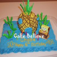 Bikini Bottom I made this for my son's birthday when he wanted to have a Spongebob Theme. It is a 1/4 sheet cake with BC icing and the seaweed is...