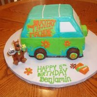 Mystery Machine With Scooby Doo Candle I made this for my son's 5th birthday! It is all BC frosting with the exception of the windows which are made from fondant. The wheels...