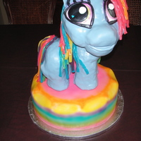 Rainbow Dash My Little Pony Rainbow Dash Pony made out of Rice Crispy treats and Chocolate on a vanilla cake