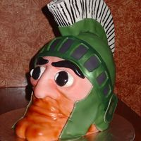 Sparty  Sparty's head on a silver platter! Red Velvet cake (of course). I'm a Michigan Wolverine fan, so this one was a tough one for me...
