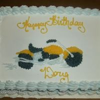 Have A Harley Birthday this is Buttercream and white cake. I drew and star tiped the Harley.