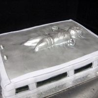 Hans Solo In Carbonite Did this cake a few months back the carved hans is carved cake covered in fondant airbrushed in silver