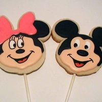 Mickey & Minnie Made these for a birthday party . . . No fail sugar cookies and Royal icing.