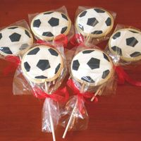 Soccer No Fail sugar cookies with royal icing. Cookies made for a end of season soccer party.