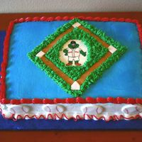 T-Ball Red Sox This is a chocolate cake with strawberries and whipped cream filling, and bc icing. I made it for a team party for my sons t-ball team.