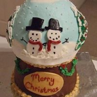 "Snow Globe Cake My attempt at a snow globe cake (thank you to all cc'ers who have done these before). The base is carved from two 6"" cakes -..."