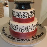 My Graduation Cake Yes, I had to make my own law school graduation cake. French vanilla cake with raspberry filling. All buttercream and fondant ribbon...