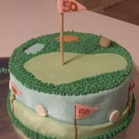 "Golf-Themed Cake For 50Th Birthday Cake for a woman's 50th birthday. The Cake board says ""Enjoy the back 9!"" Kind of a take on an over the hill cake for a golf..."