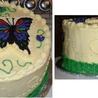 "Butterfly Garden Cake 4 layer cake with buttercream icing and FBCT. The theme was supposed to be ""butterfly garden."" The FBCT was a lot of fun...."