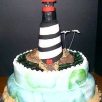 Lighthouse Cake This cake was actually made for an anniversary. They were being surprised with a trip to St. Augustine, FL. The lighthouse is made of rice...