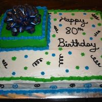 80Th Birthday Cake Cake for my great-uncle's 80th birthday. Buttermilk cake with strawberry filling and whipped icing.
