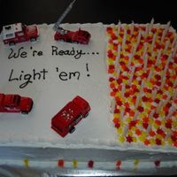 Firefighter Birthday Cake Cake for the 50th birthday of a long-time firefighter. Buttermilk cake with strawberry filling and buttercream icing. Writing was a little...