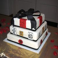 Chinese Themed Cake This cake was created for a fundraiser for a student that is going to travel to China for two weeks. All of the accent pieces are made from...