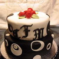 Black And White Wedding Shower Cake This cake was for a bride's wedding shower whose colors were black and white and the invitations were contemporary with black and...