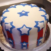 Stars & Stripes Cake Fondant Fourth of July cake inspired by a cake by MelZ. Thanks MelZ for the inspiration!