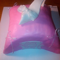 Princess Cake All buttercream pillow with a fondant shoe. Thanks for all the helpful tips on this website to help me pull this off!