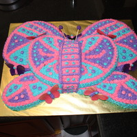 Butterfly Cake 1st birthday cake for grand neice... basic star point design with gum paste butterflies