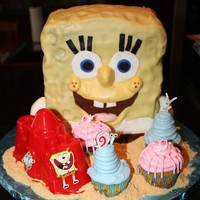 Sponge Bob And Friends chocolate cake, vanilla buttercream, covered in fondant.