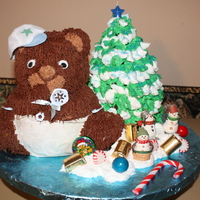 Christmas Baby Shower bear cake is pound cake with Kahlua fudge icing. Tree is triple fudge cake with buttercream icing