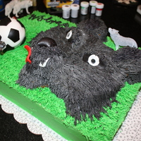 Wolves Soccer Team Celebration Cake for an elementary school age children's soccer season celebration cake. 99% buttercream.