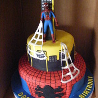 "Spiderman Cake Spiderman cake was made for a 3 year old little boy who loves spiderman. Cake is yellow cake w/ Strawberry filling. 14"" and 9""..."