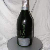 "Emeri Moscato Wine Bottle Had fun making this cake. Six 6"" round stacked and filled. Covered in fondant with edible image"