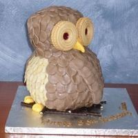 Owl This cake was made using a ball pan and a small loaf pan. Thanks to Loredawn for her inspiration of the almonds on his front and chocolate...