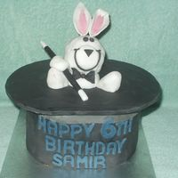Magic Rabbit In A Hat The cake is two 2 layer 8 inch chocolate madeira covered in chocolate bc and fondant. The rabbit is made out of rice crispies covered in...