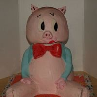 That's All Folks! Porky pig cake made for a friends birthday. Had fun making this one but wasn;t sure about how to make the arms. Bc icing with fondant...