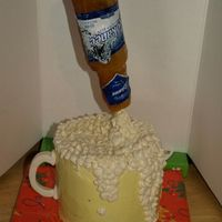 Pour Me Another One! Bday cake for my DH. I have wanted to make a suspended cake for awhile now. Second time making a sugar beer bottle. This time I was able to...