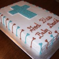 Baptism Cake Edible glitter on cross and heart stripes around with white hearts between each stripe.
