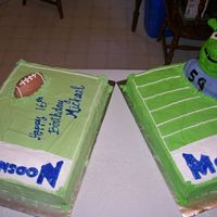 Shrek Football Customer wanted 2 cakes for son's big 16th bday bash. He plays on his varsity team at his high school (The Monsoon's) and they...
